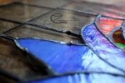 Tiffany üvegek javítása - Czinamon Glass Art Klinika :), A kifolyt ón.
