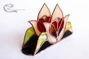 Tiffany rozsaszin tulipanos, piros szives szalvetatarto 2