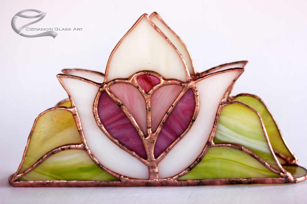 Szimbólumok, Tiffany szalvétatartó, fehér tulipánps szíves, Szalvéta tartók