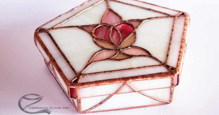 Ékszertartó, Tiffany díszdoboz, Tulipános szíves