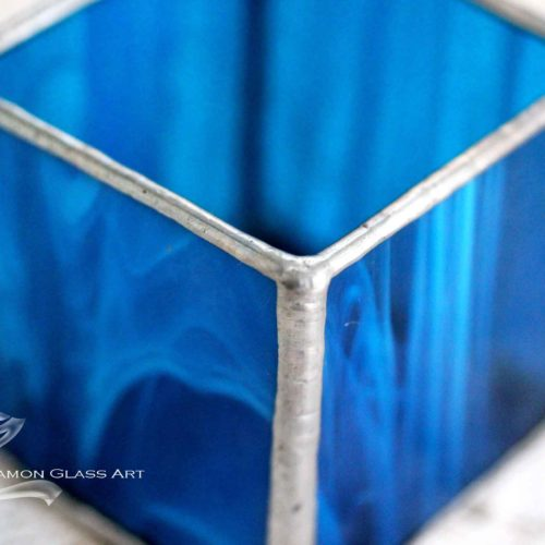 Kék tiffany mécsestartó